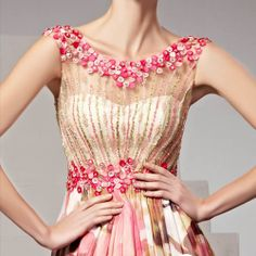 Beautiful Pink Floral Beaded Illusion Evening Ball Gown Prom Dresses SKU-122884