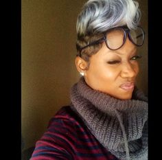 When my hair grays, I will color it platinum and rock it like this! So pretty! Dope Hairstyles, Cute Hairstyles For Short Hair, My Hairstyle, Short Sassy Hair, Short Hair Cuts, Short Hair Styles, Natural Hair Styles, Short Pixie, Straight Hair