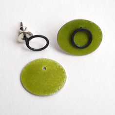 green ovals with oxidised loop studs | Contemporary Earrings by contemporary jewellery designer annabet wyndham