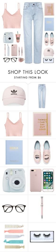 """Pink and Blue Rainy Day Set"" by clarinetist14 ❤ liked on Polyvore featuring adidas, Yves Saint Laurent, Natural Life, kikki.K, Chiara Ferragni, Fuji, Montegrappa, Accessorize and Huda Beauty"