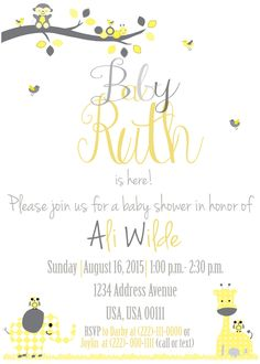 Here is a cute baby shower invitation that I made for my sister-in-law! The theme was yellow/grey/white and the shower was held after the baby was born! If you'd like me to design and invite of any kind for you, feel free to message me :) --Joylin