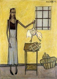"""Bernard Buffet """"Femme Au Poulet"""" 1947"""