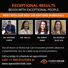 Eyes On Brickell is one of the best emergency eye care centers in Miami that accept all of the major insurances including EyeMed provider , Healthease, Staywell, Careplus and many more. Eye Doctor, Doctor In, Same Day Glasses, Eye Care Center, Brickell Miami, United Healthcare, Cool Eyes, Florida, Meet