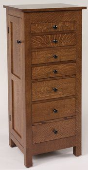 48 inch Quarter Sawn White Oak Flush Mission Jewelry Armoire But with pull hardware to match dresser