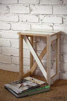 Plywood Flat Pack Stool - White.