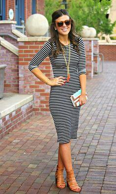 b43e509a45 a nautical midi. Look FashionSpring FashionWomens FashionFashion TrendsStriped  Midi DressBlack White ...