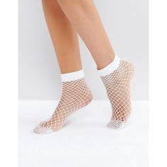 ASOS Oversized Fishnet Ankle Socks In White ($5.34) ❤ liked on Polyvore featuring intimates, hosiery, socks, white hosiery, white ankle socks, asos, white socks and white fishnet socks