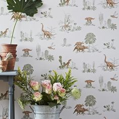 Dino- Pink/Green - kids room for one wall