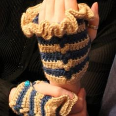 Fingerless gloves, Steampunk, ivory and blue