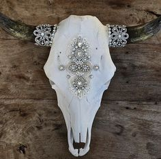 Child of Wild Authentic Cow Skull Venice Lace Detail with a Vintage Broach Adorned in Indian Bridal Jewelry Large Bridal Rhinestone Horn Detail * Please Note: Every Skull is Different By Nature, Size And Horns Will Vary Domestic US Shipping Only Bull Skulls, Deer Skulls, Animal Skulls, Longhorn Skulls, Deer Antlers, Cow Skull Decor, Cow Skull Art, Skull Head, Painted Cow Skulls