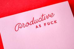 Productive AF Notepad 50 pages Red Ink on pink paper x Individually Packaged © M. Red Quotes, Pink Paper, Marca Personal, Red Aesthetic, Letterpress Printing, Foil Stamping, Christmas Themes, Christmas Diy, Wall Collage