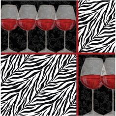 Thirstystone Occasions Drink Coasters, Set, Zebra Wine, Multicolor