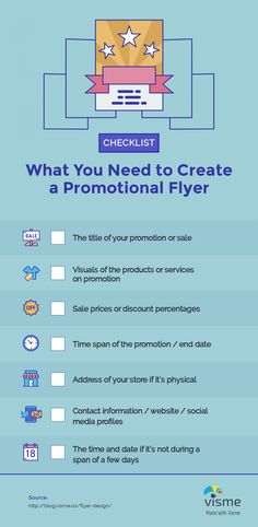 Checklist Visme Infographic: What you need to create a promotional flyer