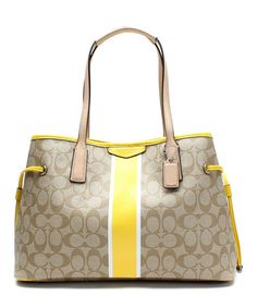 This Light Khaki & Yellow Signature Stripe Satchel by Coach is perfect! #zulilyfinds $250