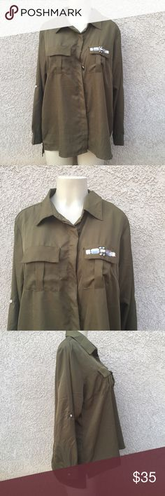 🆕 High low career shirt Olive green color button down shirt with stone detailing on pockets . Tops Button Down Shirts
