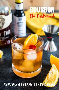 Bourbon Old Fashioned A classic bourbon cocktail made with sugar bitters and a good quality bourbon Perfect for Father s Day Bourbon Cocktails, Sweet Cocktails, Blue Cocktails, Easy Cocktails, Fun Drinks, Cocktail Recipes, Cocktail Videos, Drink Recipes, Health