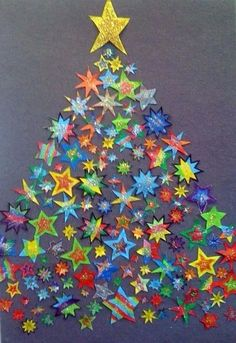 back to school tree made of stars - Christmas bulletin board idea Classroom Door Decorations Classroom Organization Preschool Christmas, Noel Christmas, Christmas Activities, Christmas Crafts For Kids, Christmas Projects, Holiday Crafts, Christmas Decorations, Homemade Christmas, Christmas Displays