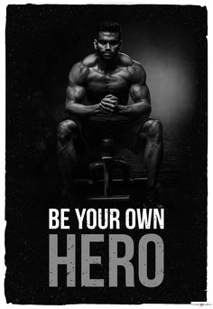 Be your own hero. - Order 22 Motivational Posters - Link is in the bio. Fitness Motivation Wallpaper, Gym Motivation Quotes, Fitness Quotes, Motivational Picture Quotes, Inspirational Posters, Motivational Posters, Workout Quotes For Men, Bodybuilding Motivation Quotes, Bodybuilding Quotes
