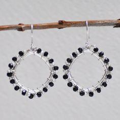Black Garnet Wrap Sterling Earrings