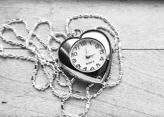 Silver Heart Shape Quartz Watch Pendant Necklace