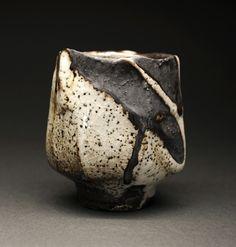 Black Clay Poured White Shino Yunomi