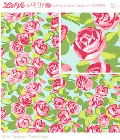 Amy Butler Fabric / LOVE Collection /  Tumble Roses in Pink / 1yd  Quilt Apparel Fabric. $9.50, via Etsy.