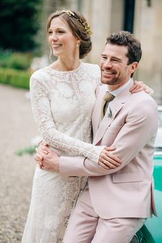 Bride in Delicate Chloe by Rue de Seine Wedding Dress | Groom in Pink Paul Smith Suit | Elegant Wedding At Eshott Hall Northumberland | Blush Pink Peach Colour Scheme | Groom In Pale Pink Suit By Paul Smith | Images by M&J Photos | Film by Clark and Palmer Wedding Films | http://www.rockmywedding.co.uk/tessa-george-2/
