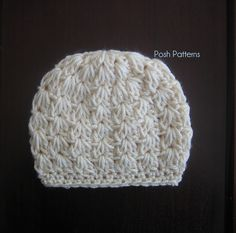 Free Crochet Baby Hat Patterns | Crochet Hat Pattern | Cluster V Stitch Beanie & Bow | Newborn to Adult