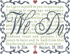 Modern Wedding Cross Stitch Pattern We Do with Vows Personalized  Cross Stitch Wedding Pattern by oneofakindbabydesign on Etsy https://www.etsy.com/listing/177304219/modern-wedding-cross-stitch-pattern-we