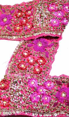 Lace, Crochet & Doilies Reasonable Vintage Sari Border Antique Hand Beaded Trim Sewing Pink Zari Lace Embellishments & Finishes