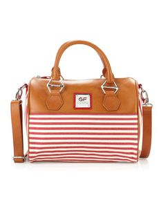 Striped Canvas Satchel Bag Red From Gianfranco Ferre At Neiman Marcus Last Call Where You Ll Save As Much On Designer Fashions