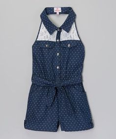 Another great find on Blue Polka Dot Lace Denim Romper - Toddler & Girls by Dollhouse Outfits Niños, Kids Outfits, Baby Girl Fashion, Kids Fashion, Little Girl Dresses, Girls Dresses, Toddler Girl Style, Toddler Girls, Reborn Toddler Dolls