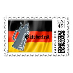 German Flag with Oktoberfest and Pewter Beer Stein Stamp. This great stamp design is available for customization or ready to buy as is. Of course, it can be sent through standard U.S. Mail. Just click the image to make your own!