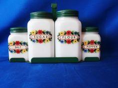 Vintage Milk Glass Hazel Atlas Range SET With Holder | eBay