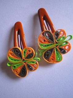 Handmade Jewelry - Paper Quilling Butterfly Clips (2)