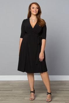 Always remember a little black dress, perfect for every occasion! Our plus size Essential Wrap Dress is the one item you need for your travel wardrobe. Dress it up with jewels or down with a denim jacket and sandals and you'll have ready-to-go style in no time. Find more made in the USA fashions at www.kiyonna.com. #kiyonnaplusyou