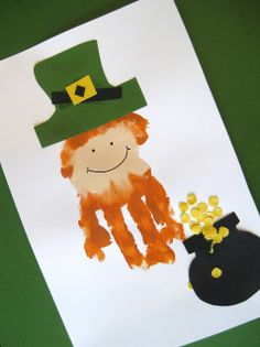 Leprechaun Handprint Craft - pinned by @PediaStaff – Please Visit  ht.ly/63sNt for all our pediatric therapy pins