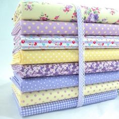 FQ BUNDLES - DEAREST ROSE YELLOW AND LILAC 100% COTTON FABRIC FLORAL VINTAGE