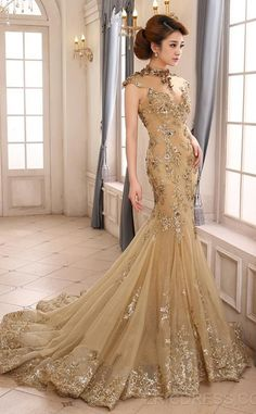 Prom Dress Gold Evening Dresses Long Vintage Gowns