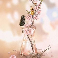 유리병 속의 봄(Spring inside the glass bottle) (Full Ver. grafolio.com/works/297872)    #일러스트 #일러스트레이션 #봄 #봄꽃 #벚꽃 #유리병 #소녀 #강아지 #다람쥐 #감성 #illust #illustration #drawing #sketch #paint #girl #plants #spring #cherryblossom