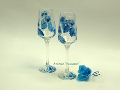romantic hand-made glass set in blue