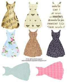 Free printable dresses and many many more! Use for tags, altered art, mixed media, scrapbooking, cardmaking and more! Diy Inspiration, Thinking Day, Vestidos Vintage, Vintage Inspired Dresses, Vintage Dresses, Scrapbooking, Clipart, Altered Art, Paper Dolls
