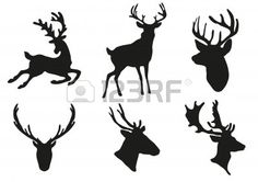 illustration of collection of deers silhouette
