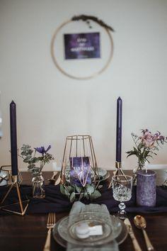 Tischdekoration Ultra Violet, Tischdeko lila, Tischdeko ultra violet, Galaxy Wedding tischdeko