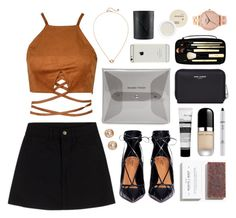 """""""Lace Me Up"""" by sophiehackett ❤ liked on Polyvore featuring Monki, Aquazzura, Yves Saint Laurent, NARS Cosmetics, Marc Jacobs, Madewell, Bobbi Brown Cosmetics, MANGO, Korres and NYX"""