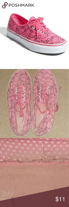 Pink Hello Kitty Vans These shoes are so cute! Great casual sneakers to throw on to run errands or play outside in. They are comfy and in good used condition overall. They have not been worn in years (were purchased brand new from VANS official website by me in 2012) and have been just sitting in the back of my closet collecting dust, dirt, fur, etc. A wash will clean them right up though! There is some loose threads/fraying inside the shoe but no holes. VANS doesn't sell these anymore, so…