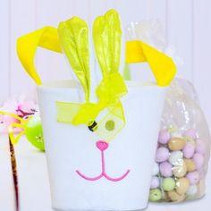 Personalised Yellow Bunny Bucket with Easter Egg Chocolates