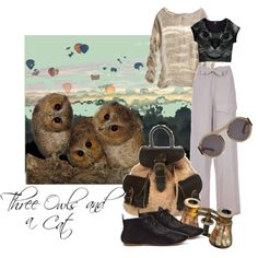 """""""Three Owls and a Cat"""" by moodycat on Polyvore"""