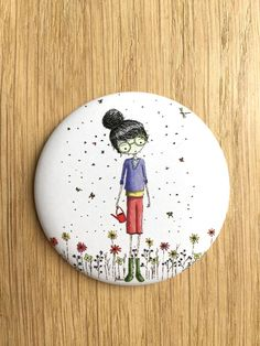 Grand Badge Libellunette illustré par Nélia Badge, Tableware, Etsy, Unique Jewelry, Objects, Handmade Gifts, Cards, Dinnerware, Tablewares