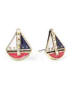 Betsey Johnson Sailboat Stud Earring | Piperlime #summer #beach